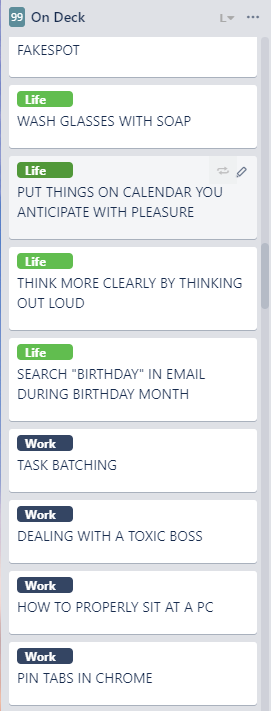 List of show topics in Trello